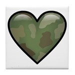 Love Military Cammo Heart Tile Coaster