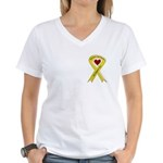 We Support You Yellow Ribbon Women's V-Neck T-Shir
