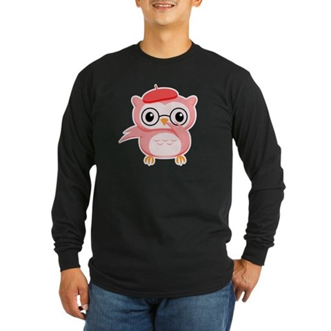 Le Pink Owl Long Sleeve Black T-Shirt