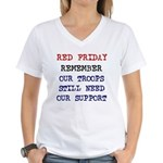 Red Friday Remember our Troop Women's V-Neck T-Shi