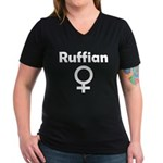 Ruffian Women's V-Neck Dark T-Shirt