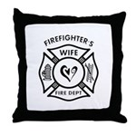 Firefighter theme personalized pillow features fire dept logo to decorate your home.