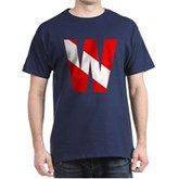 Scuba Flag Letter W Dark T-Shirt