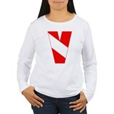 Scuba Flag Letter V Women's Long Sleeve T-Shirt
