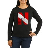 Scuba Flag Letter N Women's Long Sleeve Dark T-Shi