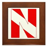 Scuba Flag Letter N Framed Tile