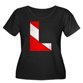Scuba Flag Letter L Women's Plus Size Scoop Neck D