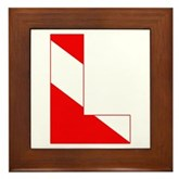 Scuba Flag Letter L Framed Tile