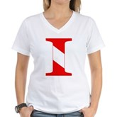 Scuba Flag Letter I Women's V-Neck T-Shirt