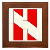 Scuba Flag Letter H Framed Tile