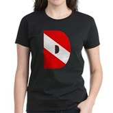 Scuba Flag Letter D Women's Dark T-Shirt
