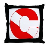 Scuba Flag Letter C Throw Pillow