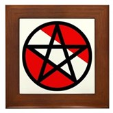 Scuba Flag Pentagram Framed Tile