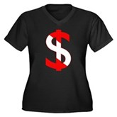 Scuba Flag Dollar Sign Women's Plus Size V-Neck Da
