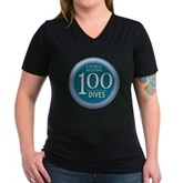 100 Dives Milestone Women's V-Neck Dark T-Shirt