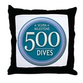 500 Dives Milestone Throw Pillow