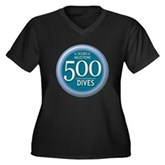 500 Dives Women's Plus Size V-Neck Dark T-Shirt
