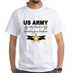 Army My Fiance is defending . White T-Shirt