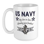 NAVY Son-in-law freedom Large Mug