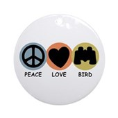 Peace Love Bird Ornament (Round)