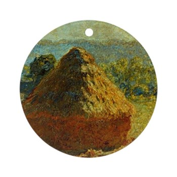 Haystacks by Monet Round Ornament