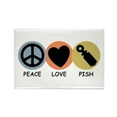  Peace Love Pish Rectangle Magnet