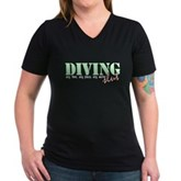 Diving Slut Women's V-Neck Dark T-Shirt