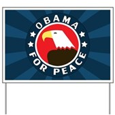 A stylized American Bald Eagle is in the middle of this round Obama For Peace design. Show your support for Barack Obama's historic Presidential bid with this classic & patriotic pro-Obama design.
