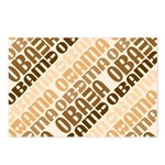 This repeated design in browns has Obama's name stacked in diagonal lines. This abstract pro-Obama design ranges from tan to dark brown. Support Barack Obama's White House bid in 2008 in style!
