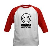 Obama Makes Me Smile Kids Baseball Jersey
