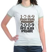 Presidential Firsts: 1789-2009 Jr. Ringer T-Shirt