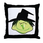 Happy Green Witch Throw Pillow