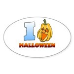 I Love Halloween Oval Sticker (10 pk)