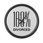 100% Divorced Large Wall Clock