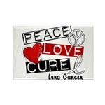 PEACE LOVE CURE Lung Cancer Rectangle Magnet