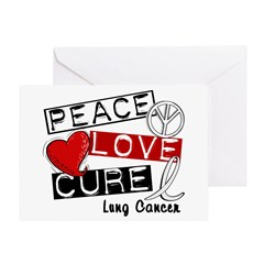 PEACE LOVE CURE Lung Cancer Greeting Card