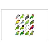 16 Birdorable Parrots Large Poster