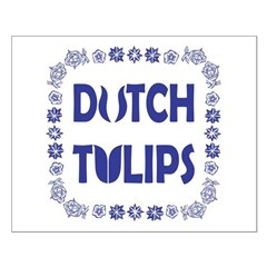 Dutch Tulips Delft Blue Style Small Poster
