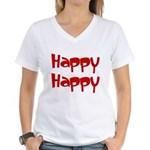Happy Happy Joy Joy Women's V-Neck T-Shirt