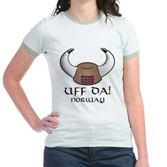 Uff Da! Norway Viking Hat (color) Jr. Ringer T-Shirt