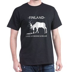 Dark T-Shirt Land of Moose and Booze from the Metal From Finland Shop