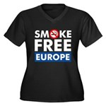 Smoke Free Europe Women's Plus Size V-Neck Dark T-Shirt