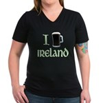 I Love Ireland (beer) Women's V-Neck Dark T-Shirt