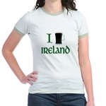 I Love Ireland (beer) Jr. Ringer T-Shirt