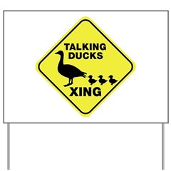 Talking Ducks Crossing Yard Sign