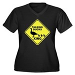 Talking Ducks Crossing Women's Plus Size V-Neck Dark T-Shirt