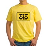 313 License Plate Yellow T-Shirt