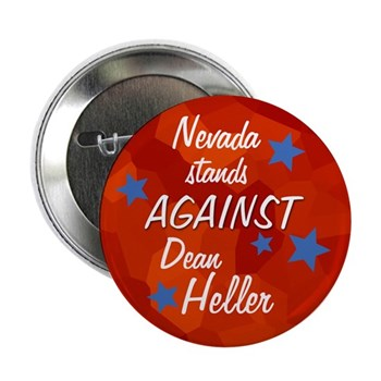 Nevada Stands Against Dean Heller Red Campaign Button with stars