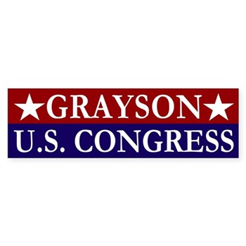 Re-Elect Alan Grayson to the United States Congress for the people of Florida (Grayson for Congress bumper sticker)