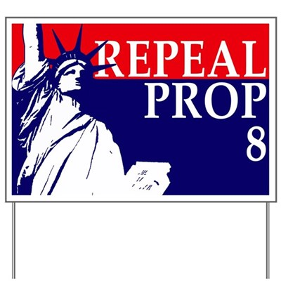 The Statue of Liberty stands out boldly in American colors on this lawn sign in favor of the repeal of Proposition 8. It's an equality thing, a freedom thing, a liberty thing. An American thing.